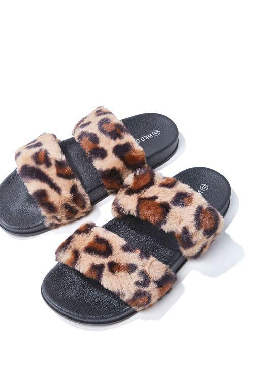 Leopard Faux Fur Slippers, image 3