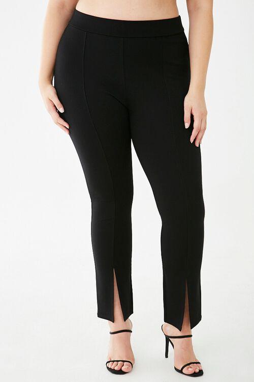 Plus Size Split-Hem Leggings, image 2