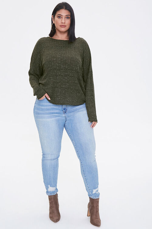 Plus Size Ribbed Twist-Back Top, image 4