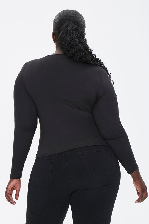 Plus Size Caged Long-Sleeve Top, image 3