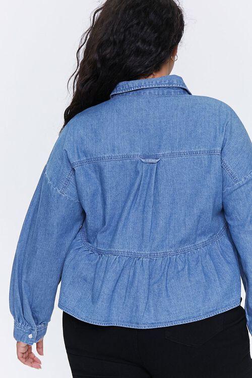 Plus Size Denim Flounce-Hem Shirt, image 4