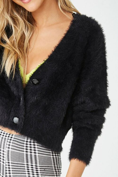 Fuzzy Button-Front Cardigan, image 5