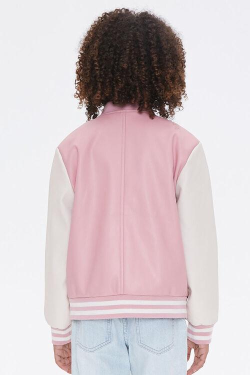 Girls Faux Leather Varsity Jacket (Kids), image 3