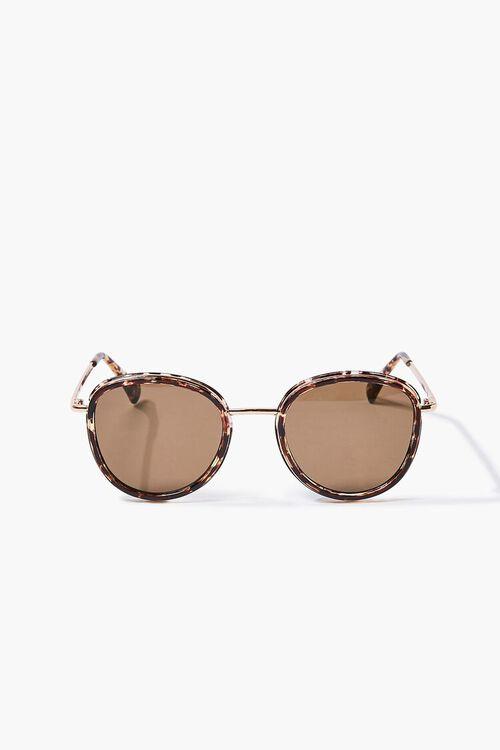 Tortoiseshell Round Metal Sunglasses, image 1