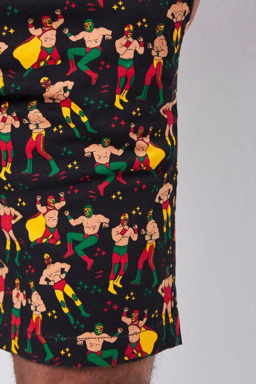 BLACK/MULTI Luchador Print Buttoned Shorts, image 6