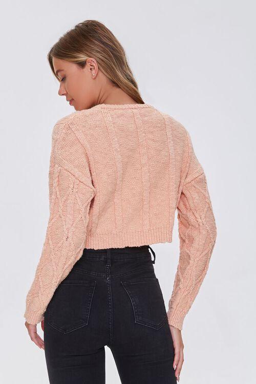 PEACH Cotton-Blend Lattice Sweater, image 3