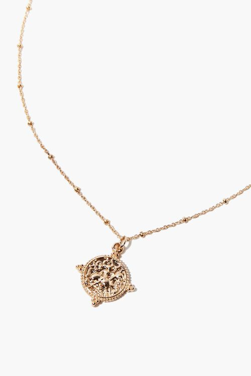 GOLD Ornate Coin Pendant Necklace, image 1