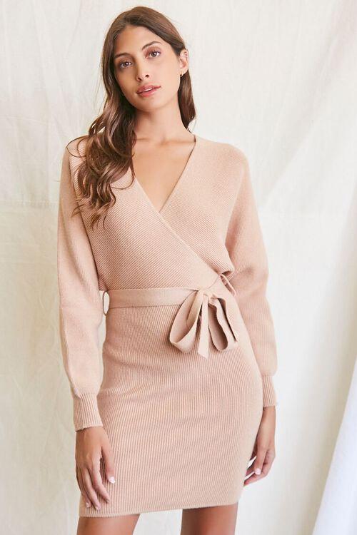 TAUPE Sweater-Knit Wrap Dress, image 1