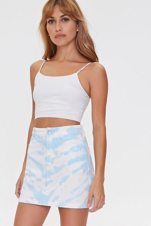 WHITE/BLUE Tie-Dye Mini Skirt, image 1