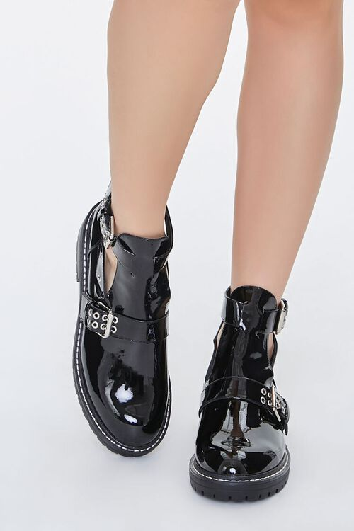 Faux Patent Leather Buckled Booties, image 4
