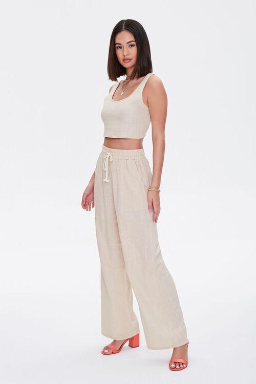 Linen-Blend Crop Top & Pants Set, image 1