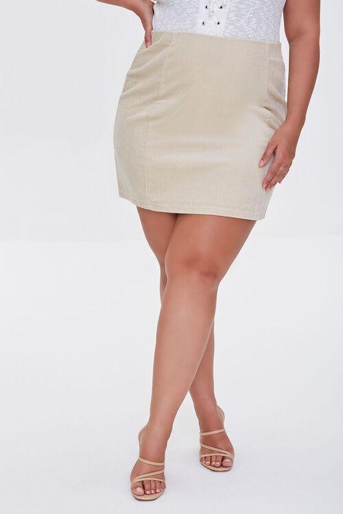 CREAM Plus Size Corduroy Mini Skirt, image 2