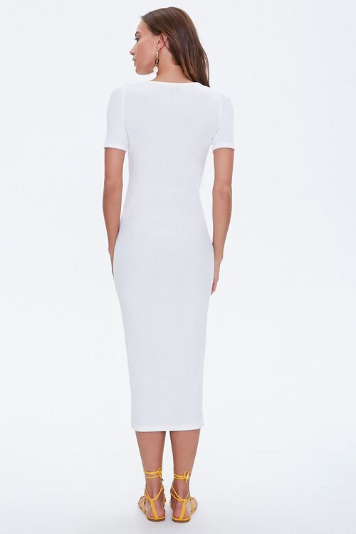 Ribbed Button-Front Midi Dress, image 3