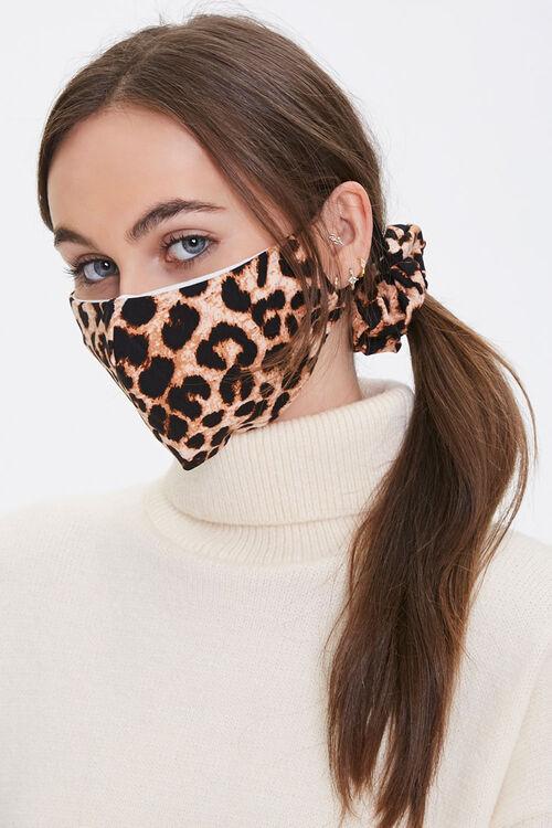 BROWN/MULTI Leopard Face Mask & Scrunchie Set, image 1