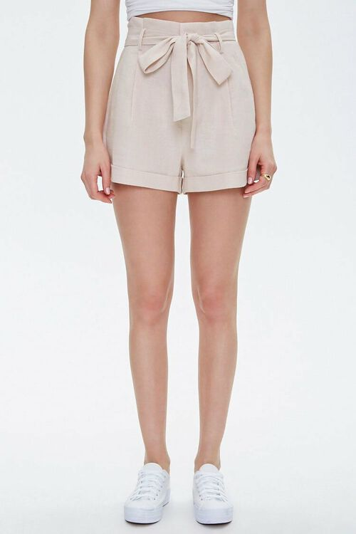 BEIGE Cuffed Belted Paperbag Shorts, image 2