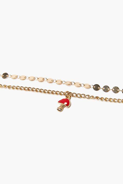 GOLD Mushroom Charm Anklet Set, image 1