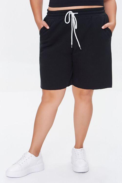 BLACK Plus Size Boyfriend Sweatshorts, image 2