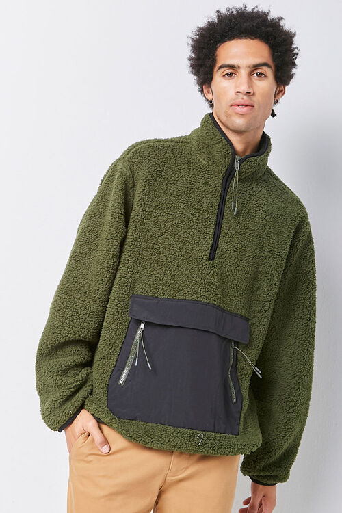 Faux Shearling Contrast-Pocket Anorak, image 1