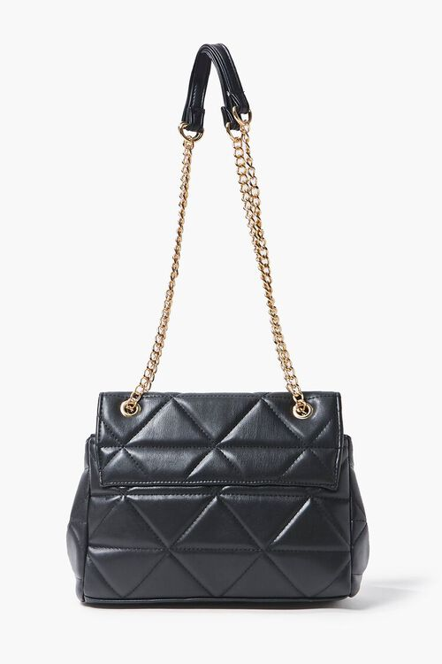 BLACK Quilted Faux Leather Crossbody Bag, image 3