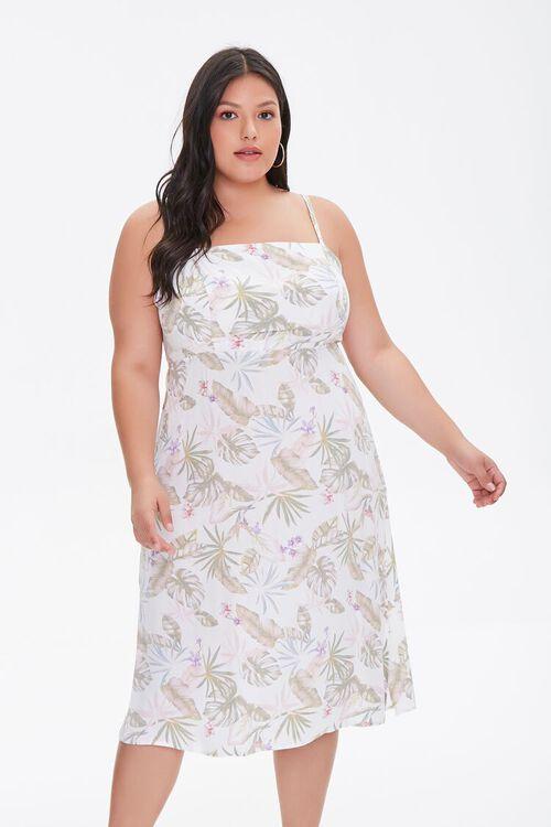 Plus Size Tropical Leaf Print Dress, image 1