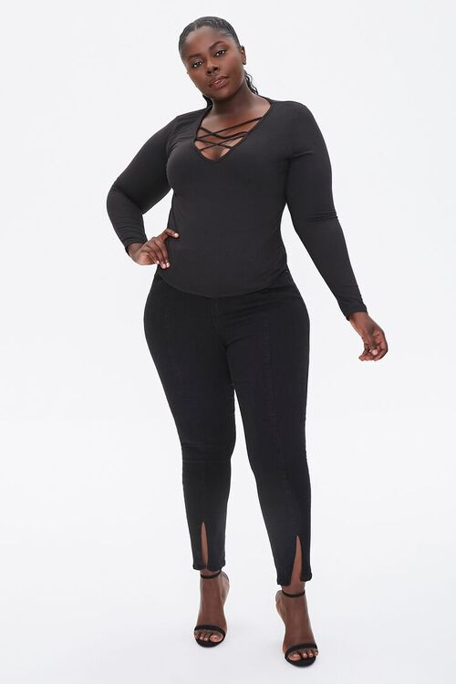 Plus Size Caged Long-Sleeve Top, image 4