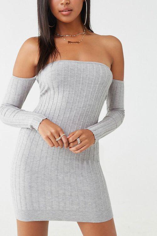 Ribbed Off-the-Shoulder Mini Dress, image 1