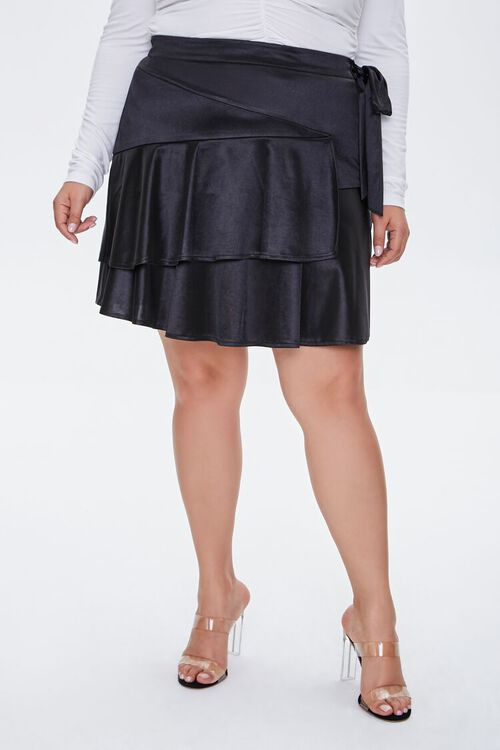 Plus Size Satin Ruffle Mini Skirt, image 2