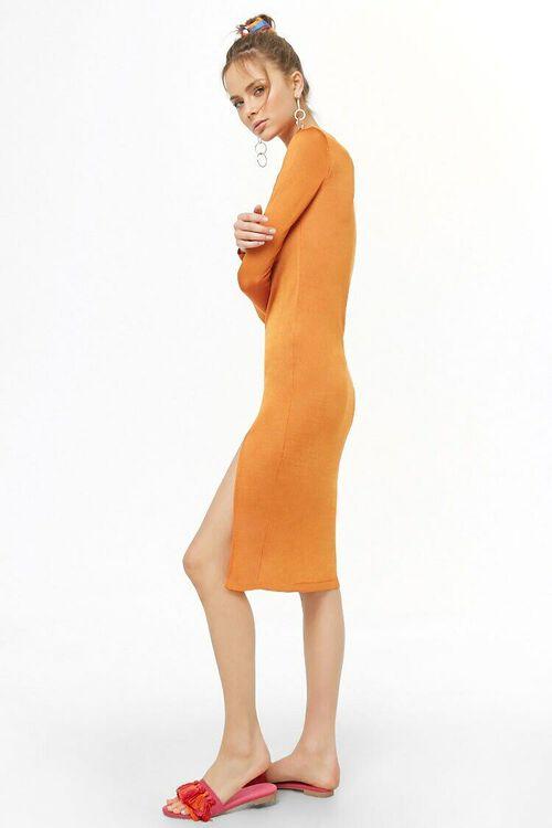 ORANGE Sheer Mock Neck Dress, image 2