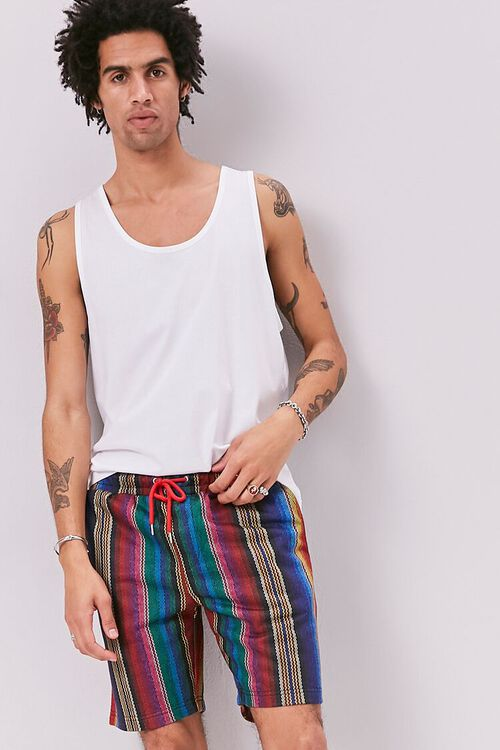 Striped Print Drawstring Shorts, image 1
