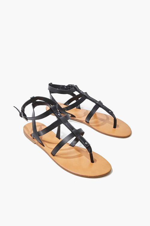 Caged Ankle-Strap Flat Sandals, image 1