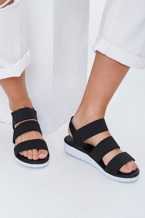 BLACK Strappy Flatform Wedge Sandals, image 1