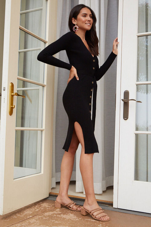Ribbed Button-Down Sweater Dress, image 2