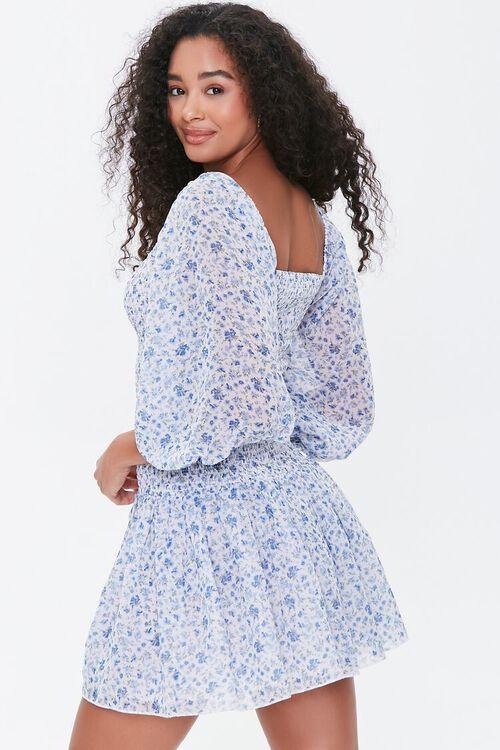 Smocked Georgette Floral Mini Dress, image 2