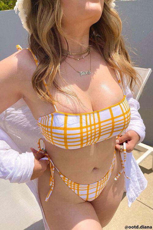 Plaid Tie-Strap Bikini Top, image 1