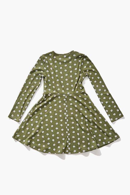 Girls Daisy Print Skater Dress (Kids), image 2