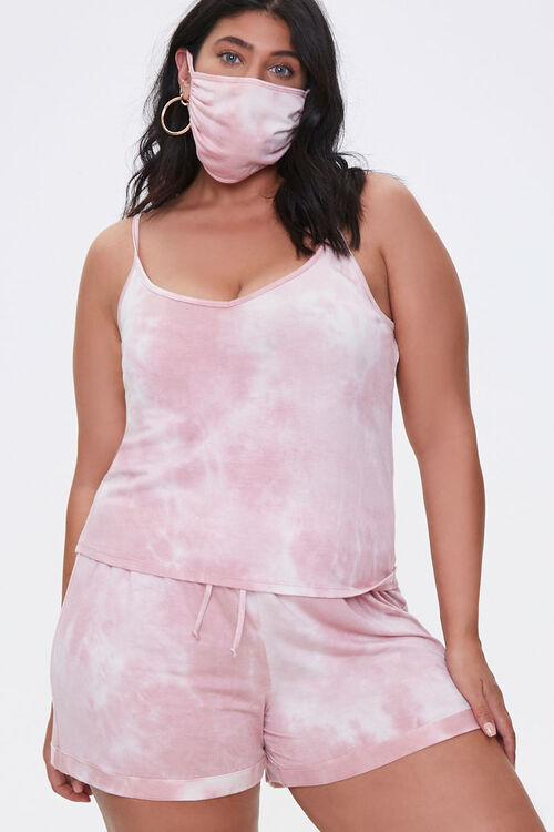 Plus Size Cami Shorts & Face Mask Set, image 1
