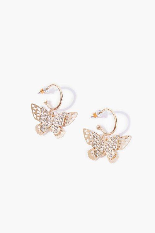 GOLD/CLEAR Butterfly Hoop Earrings, image 1