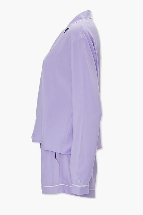 Piped-Trim Shirt & Shorts PJ Set, image 2