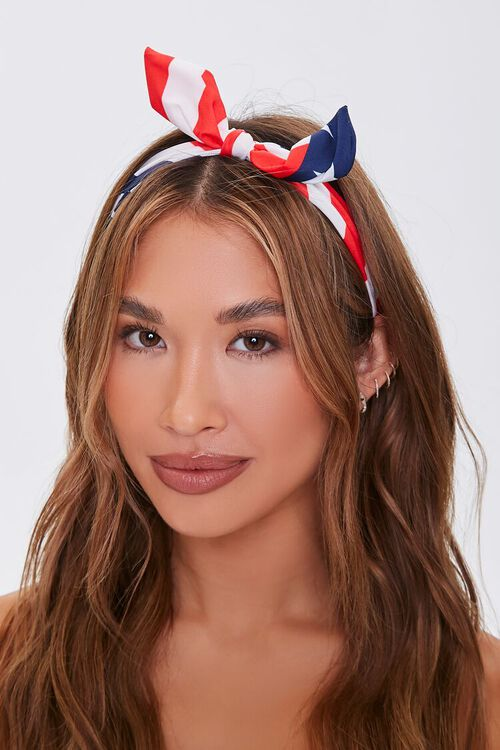 American Flag Knotted Bow Headband, image 1