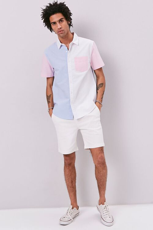 WHITE/BLUE Colorblock Fitted Pocket Shirt, image 4