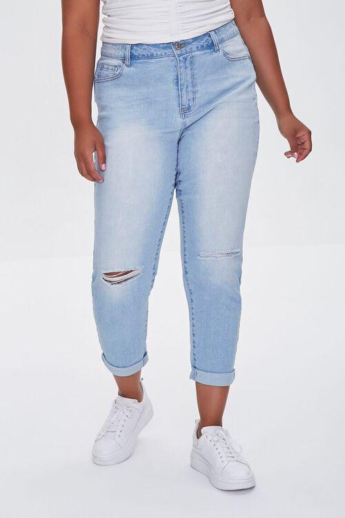 LIGHT DENIM Plus Size Premium Boyfriend Jeans, image 2