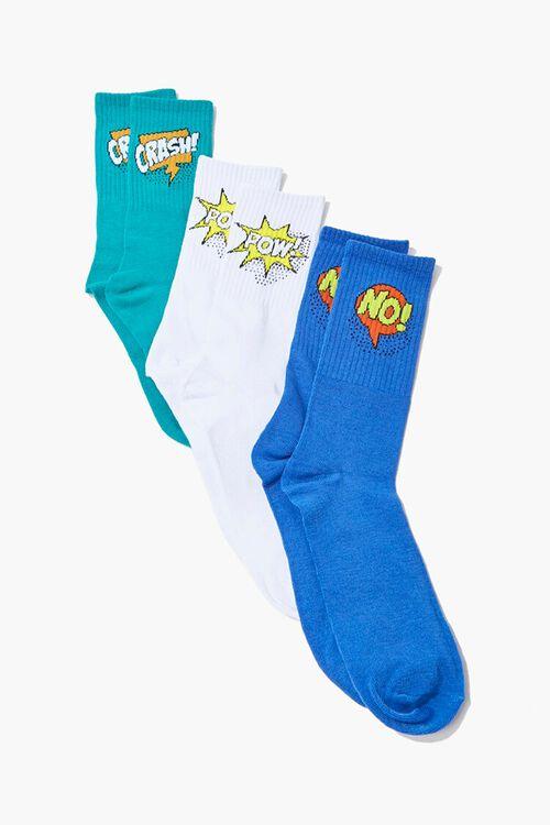 Men Comic Graphic Crew Sock Set, image 1