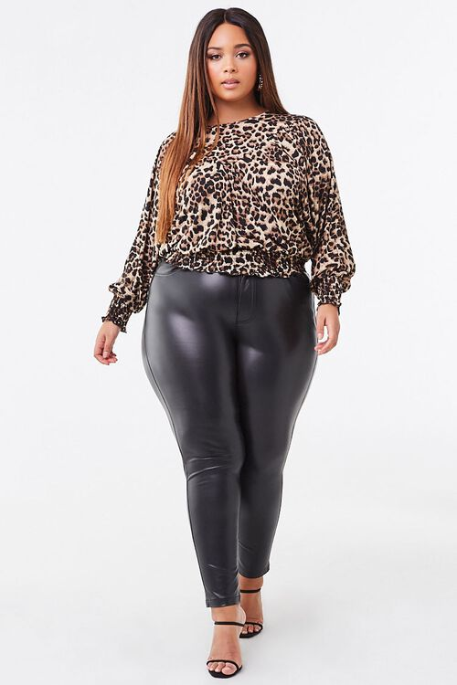 Plus Size Smocked Leopard Print Top, image 2