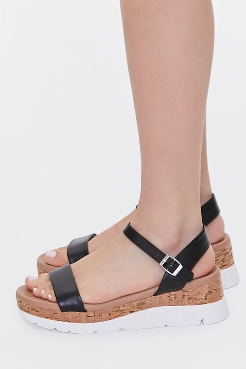 BLACK Faux Leather Open-Toe Wedges, image 2