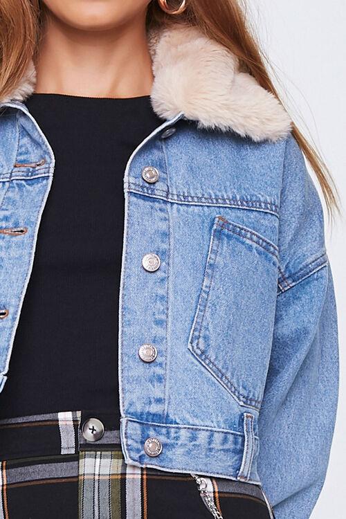 Faux Fur Collar Denim Jacket, image 5