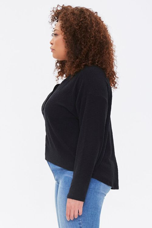 Plus Size Ribbed Henley Top, image 2