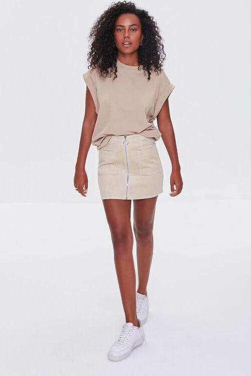 Corduroy Zip-Front Mini Skirt, image 5