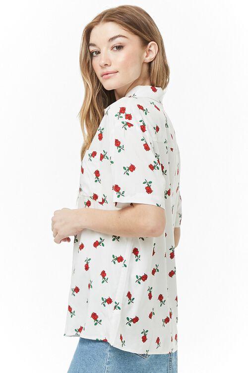 WHITE/RED Rose Print Shirt, image 2