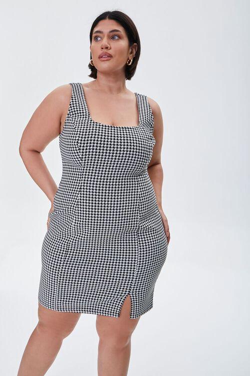 Plus Size Houndstooth Mini Dress, image 1