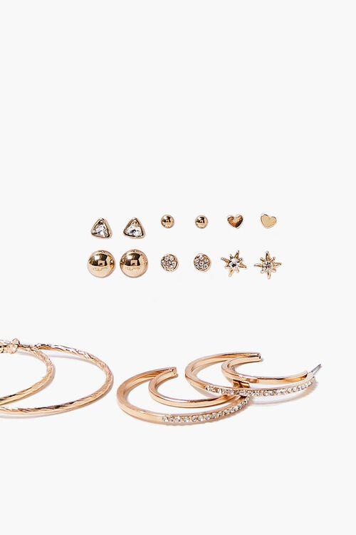 GOLD Moon & Star Hoop & Stud Earring Set, image 2